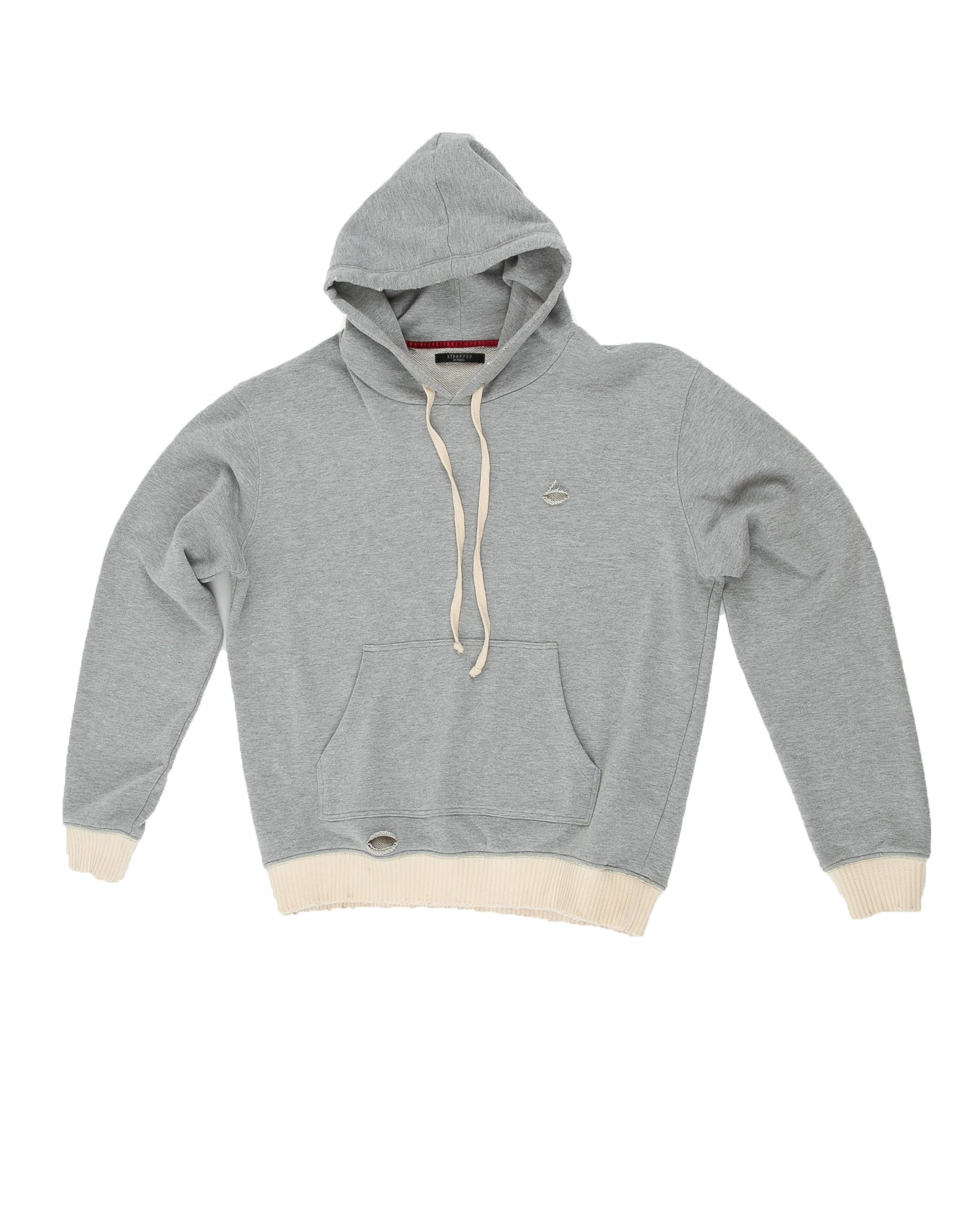 Front of Weighted Hoodie in Heather Grey