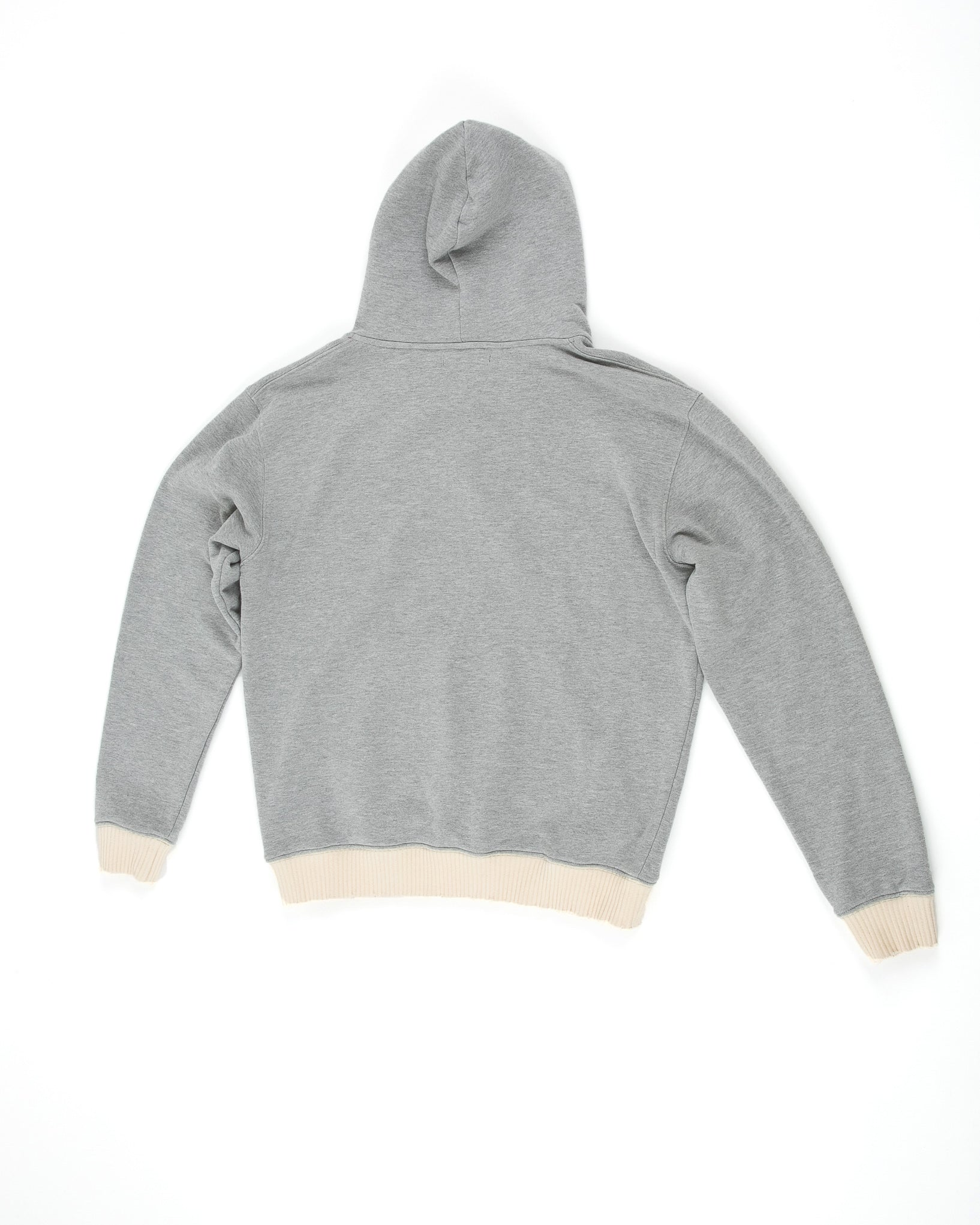 Back of Weighted Hoodie in Heather Grey