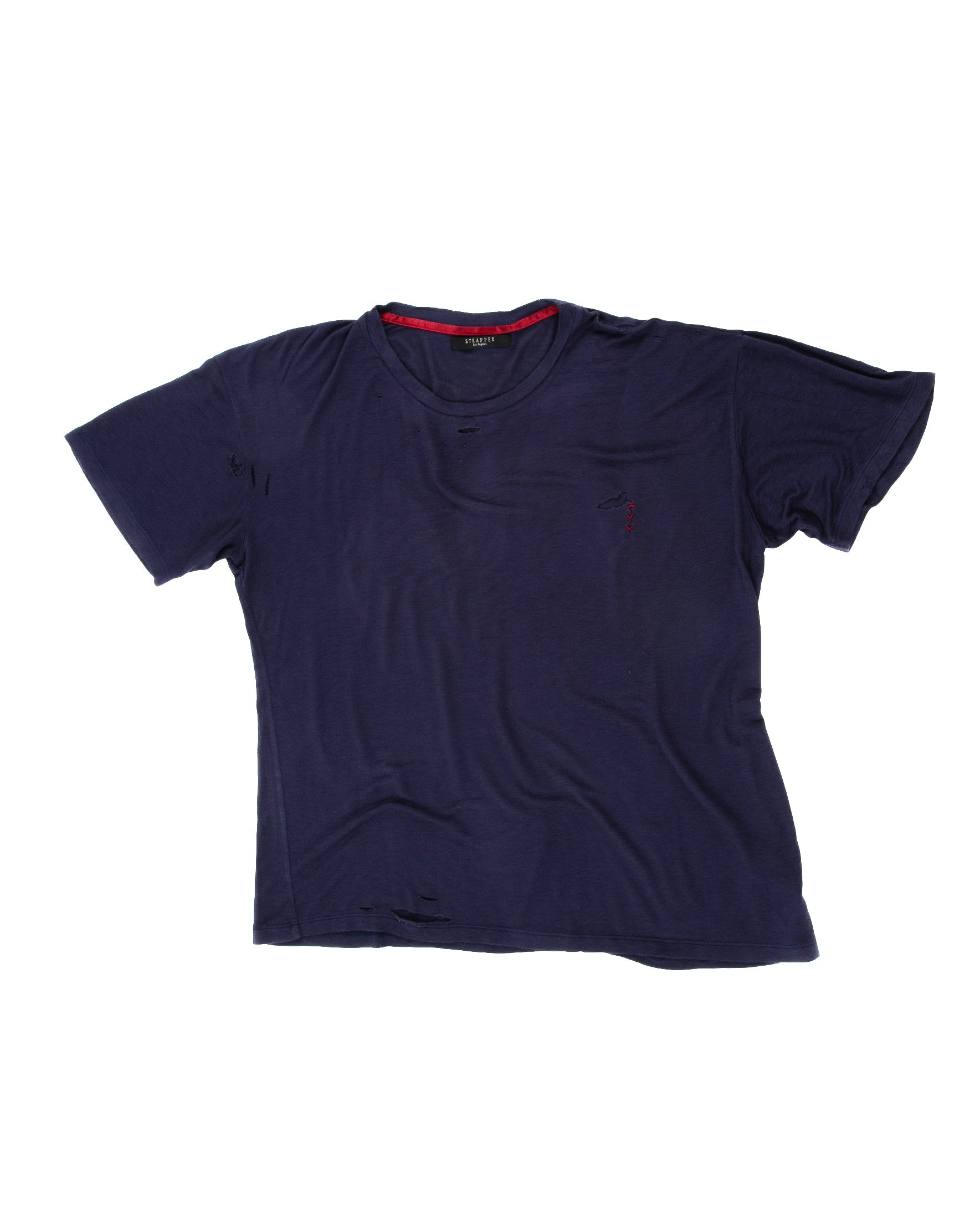 Front of Hand-stitched Tee in Navy