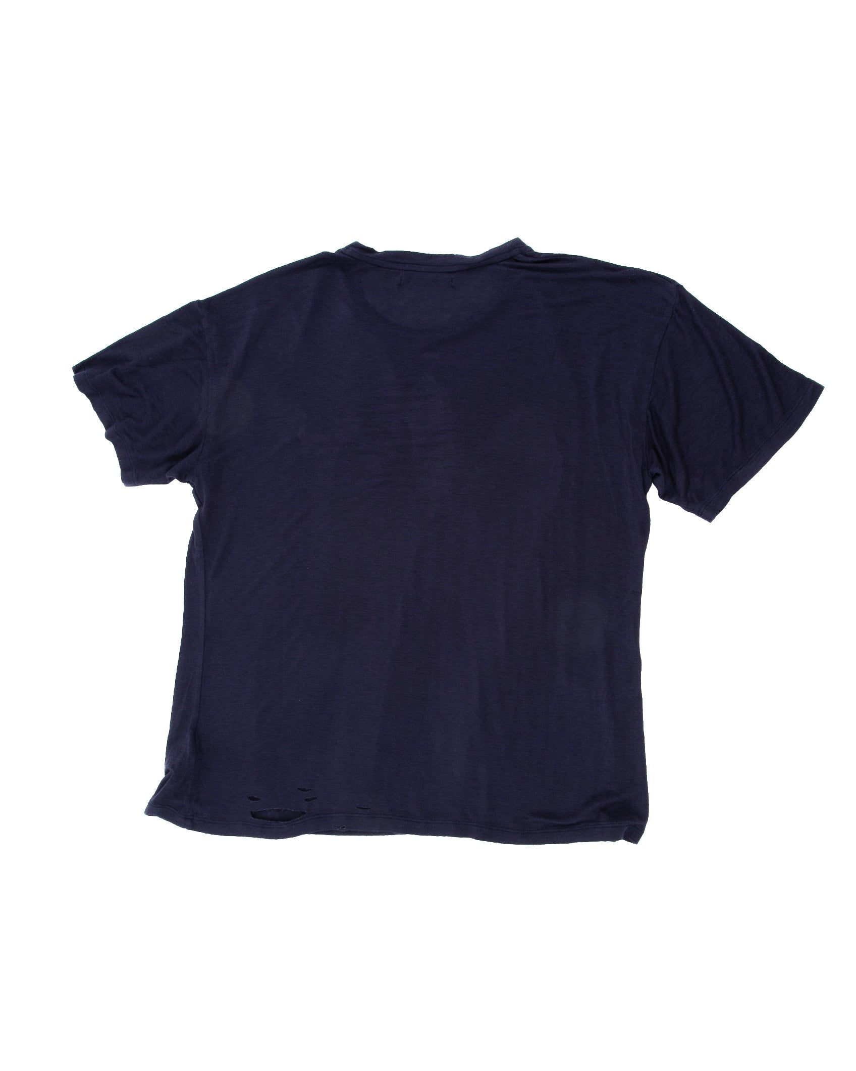 Back of Hand-stitched Tee in Navy