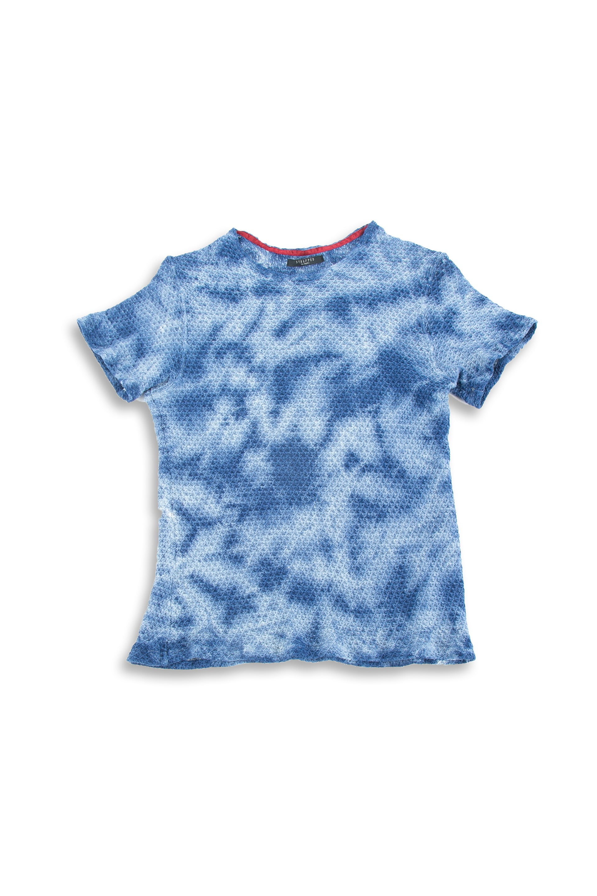 Front of Pointelle Tee in Washed Blue