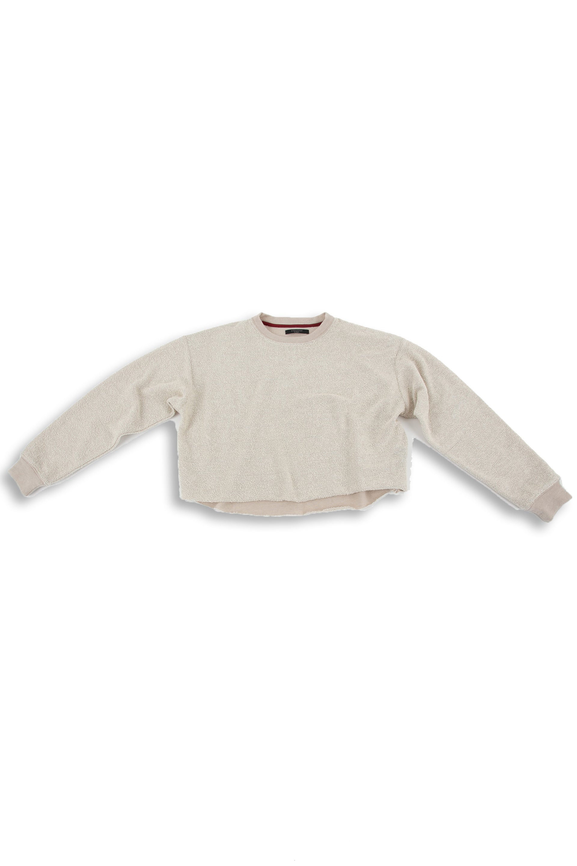 Front of Cropped Sweater in Taupe Heather
