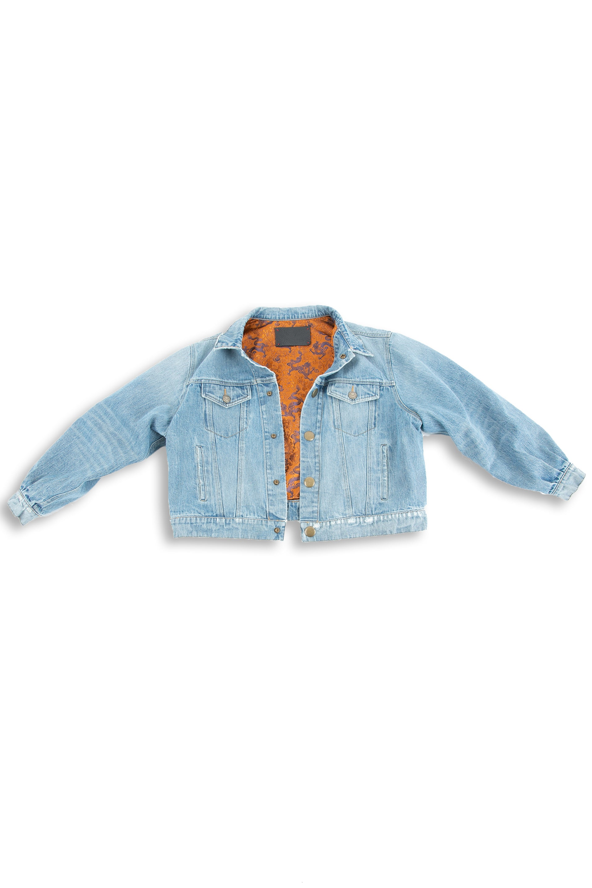 Front of Dynasty Reversible Denim jacket