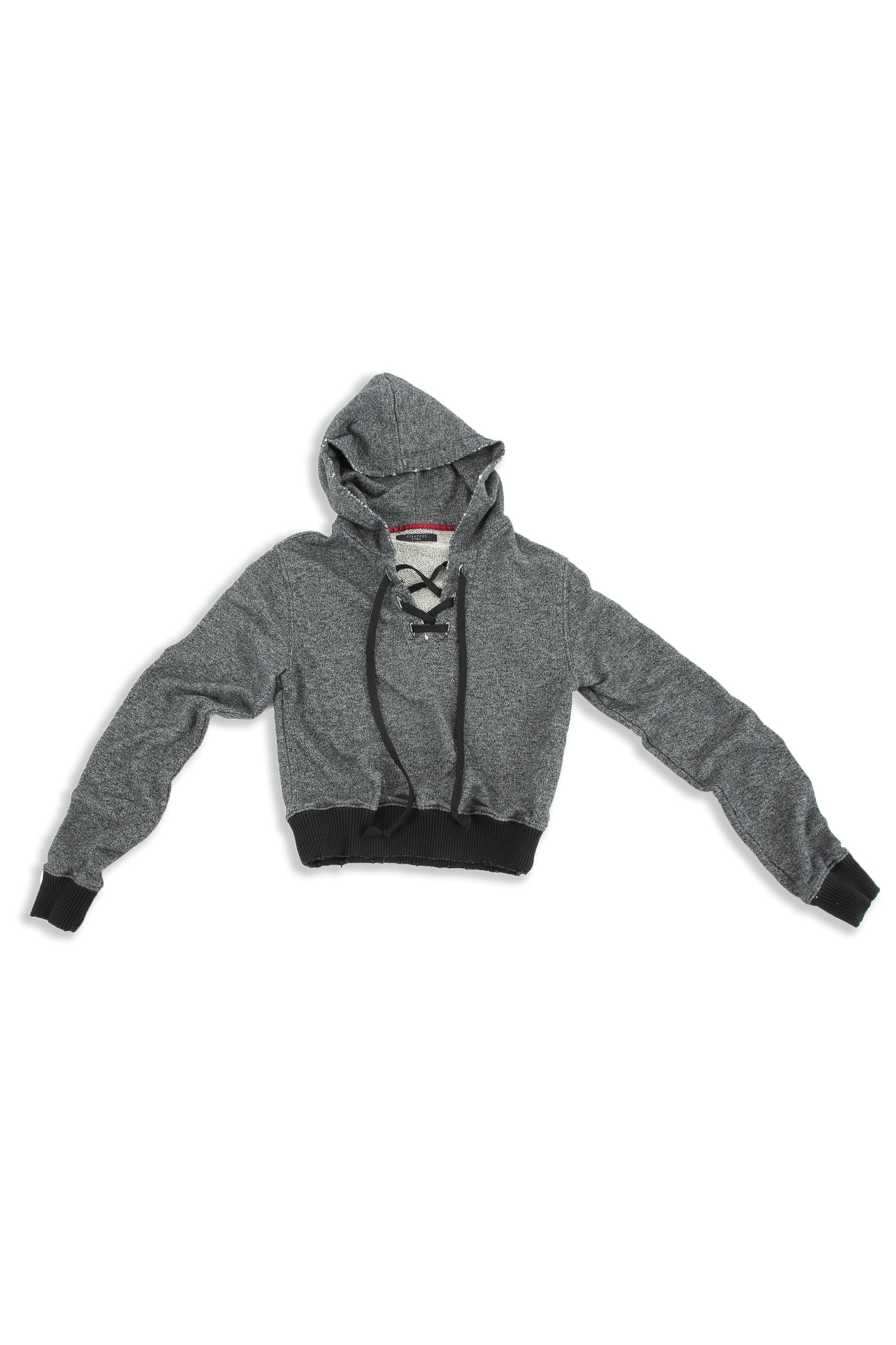 Front of Cropped Hoodie in Black