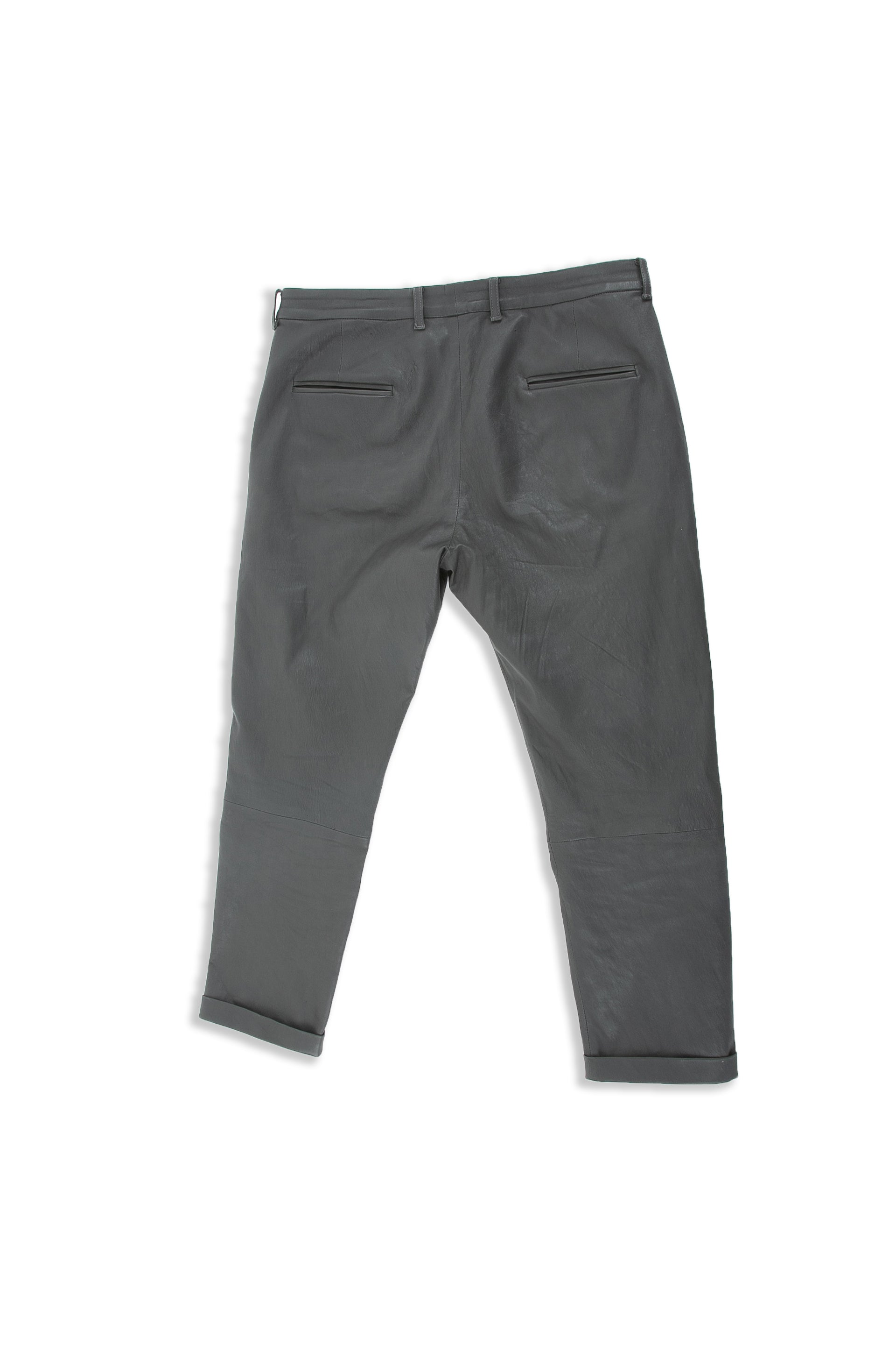 Backside of Cuffed Leather Pant in Charcoal