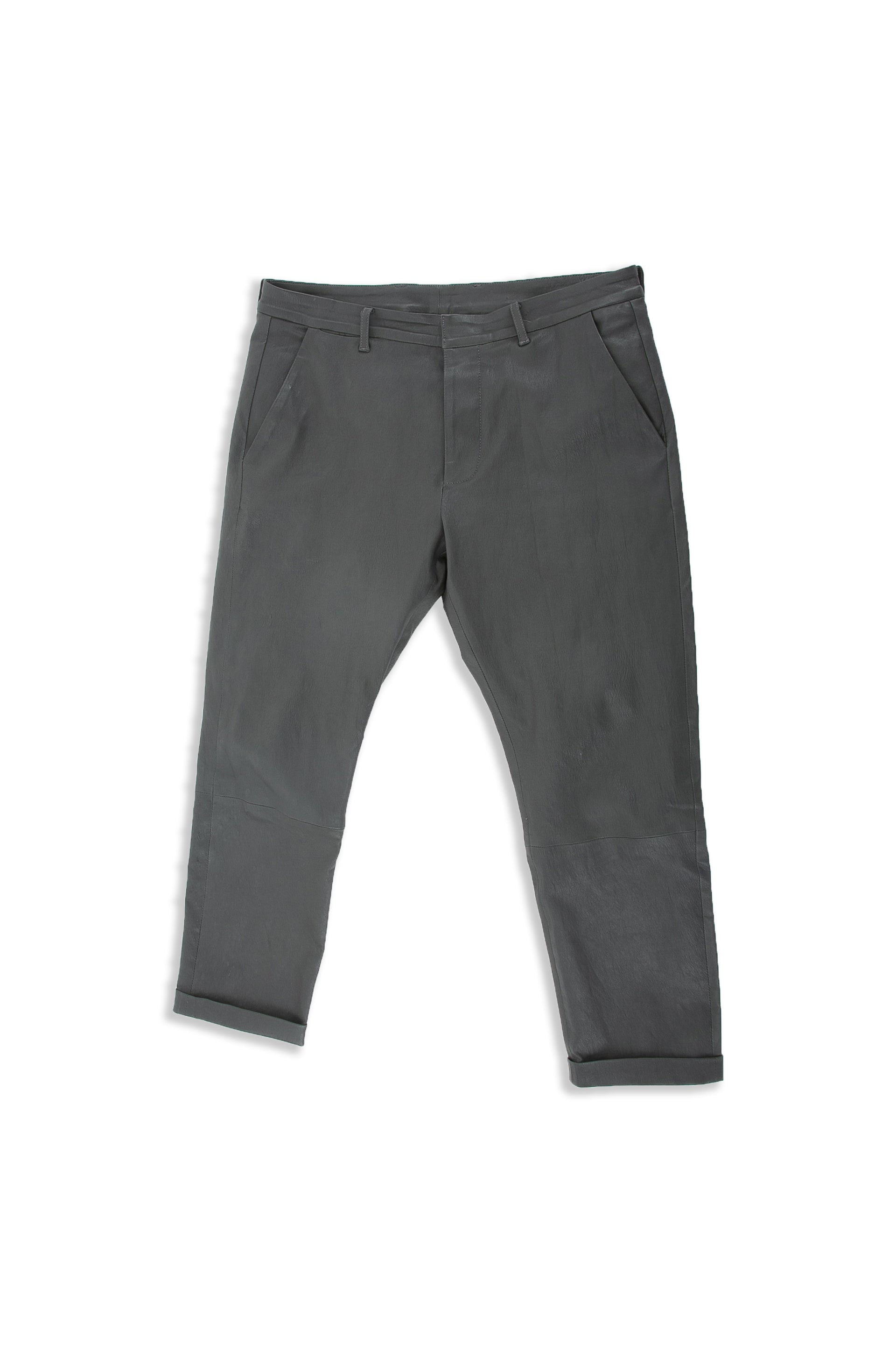 Front of Cuffed Leather Pant in Charcoal