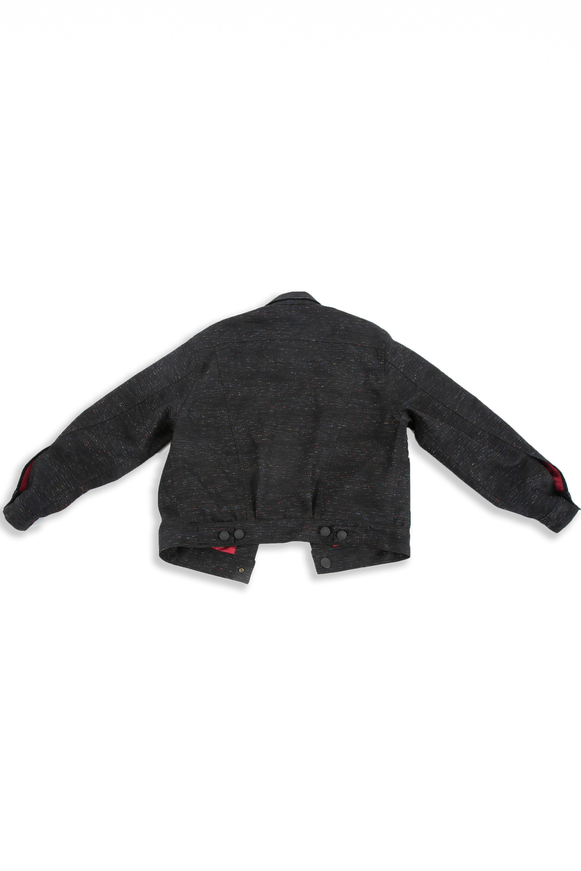 Back of Reversible Parlor black denim jacket