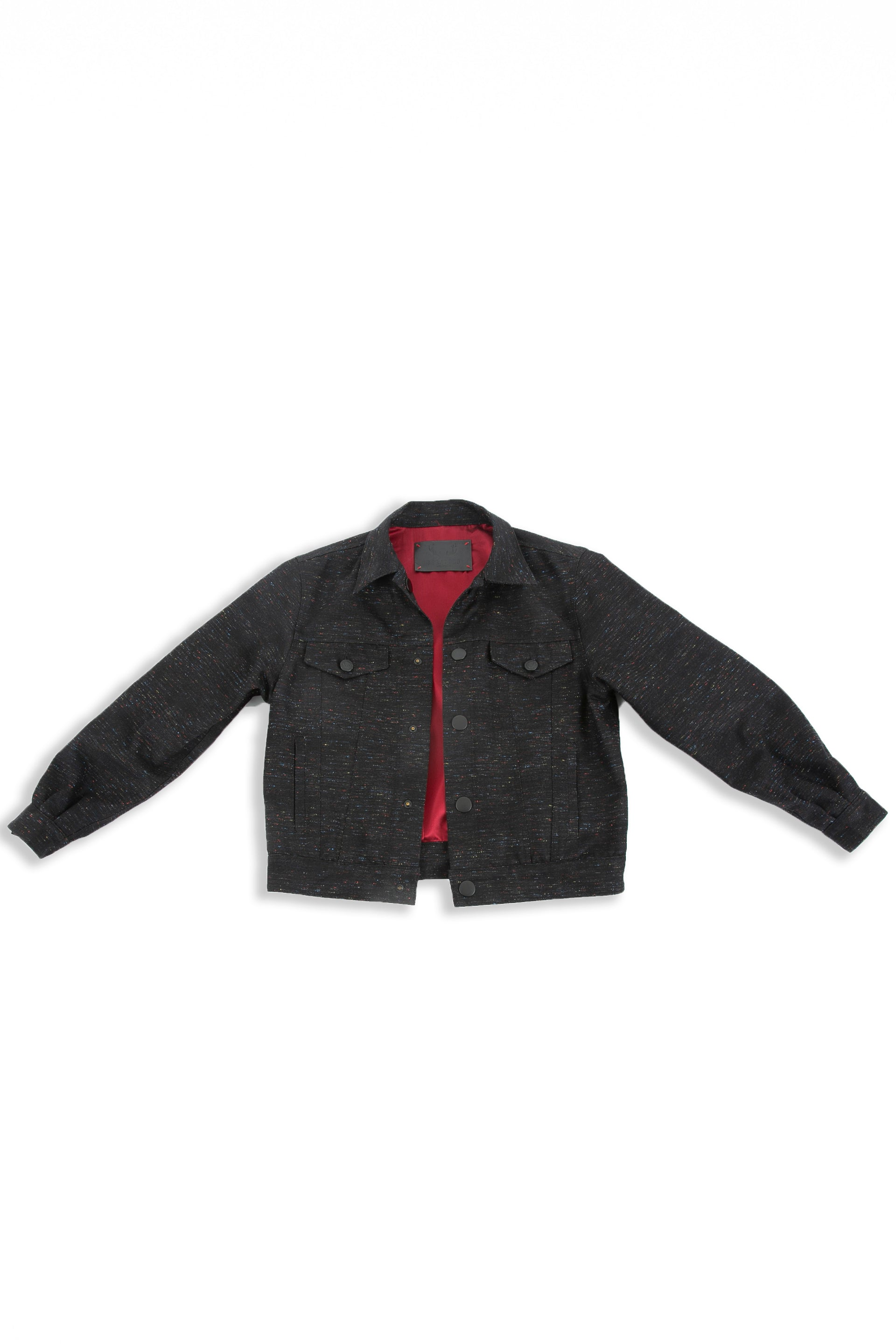 Front of Reversible Parlor black denim jacket