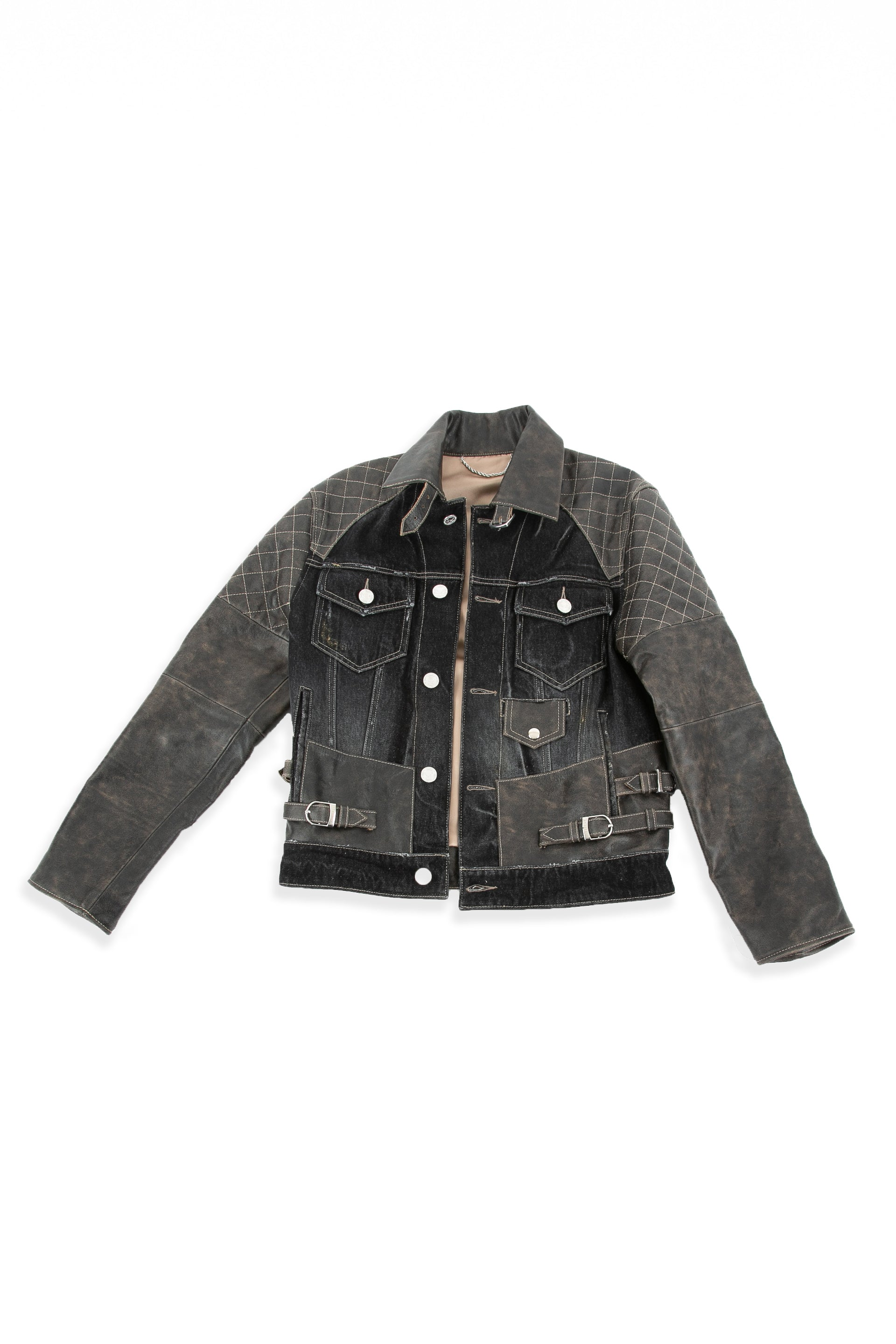 Front of Mixed Rocker leather jacket