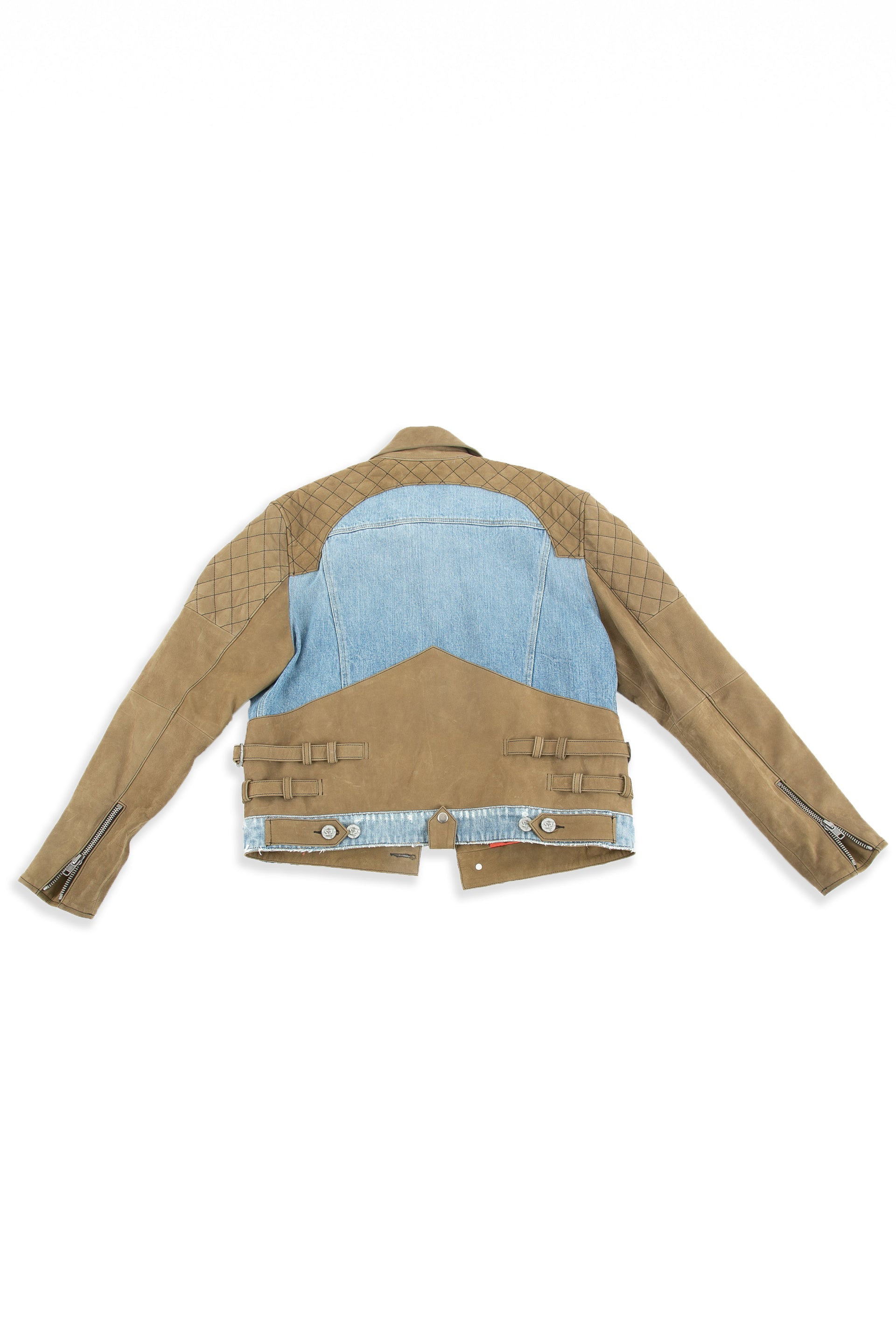 Back of Tortuga leather and denim jacket