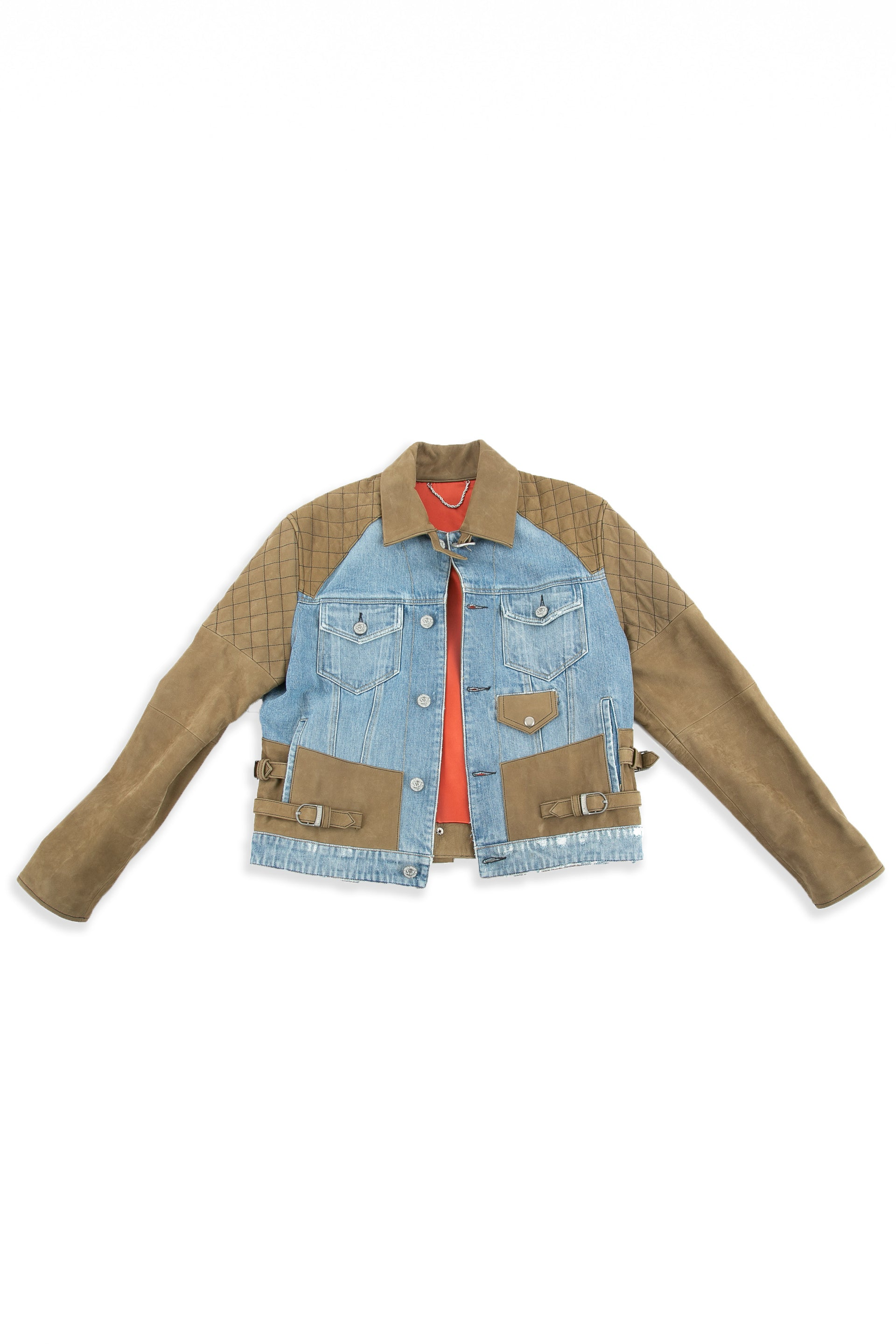 Front of Tortuga leather and denim jacket