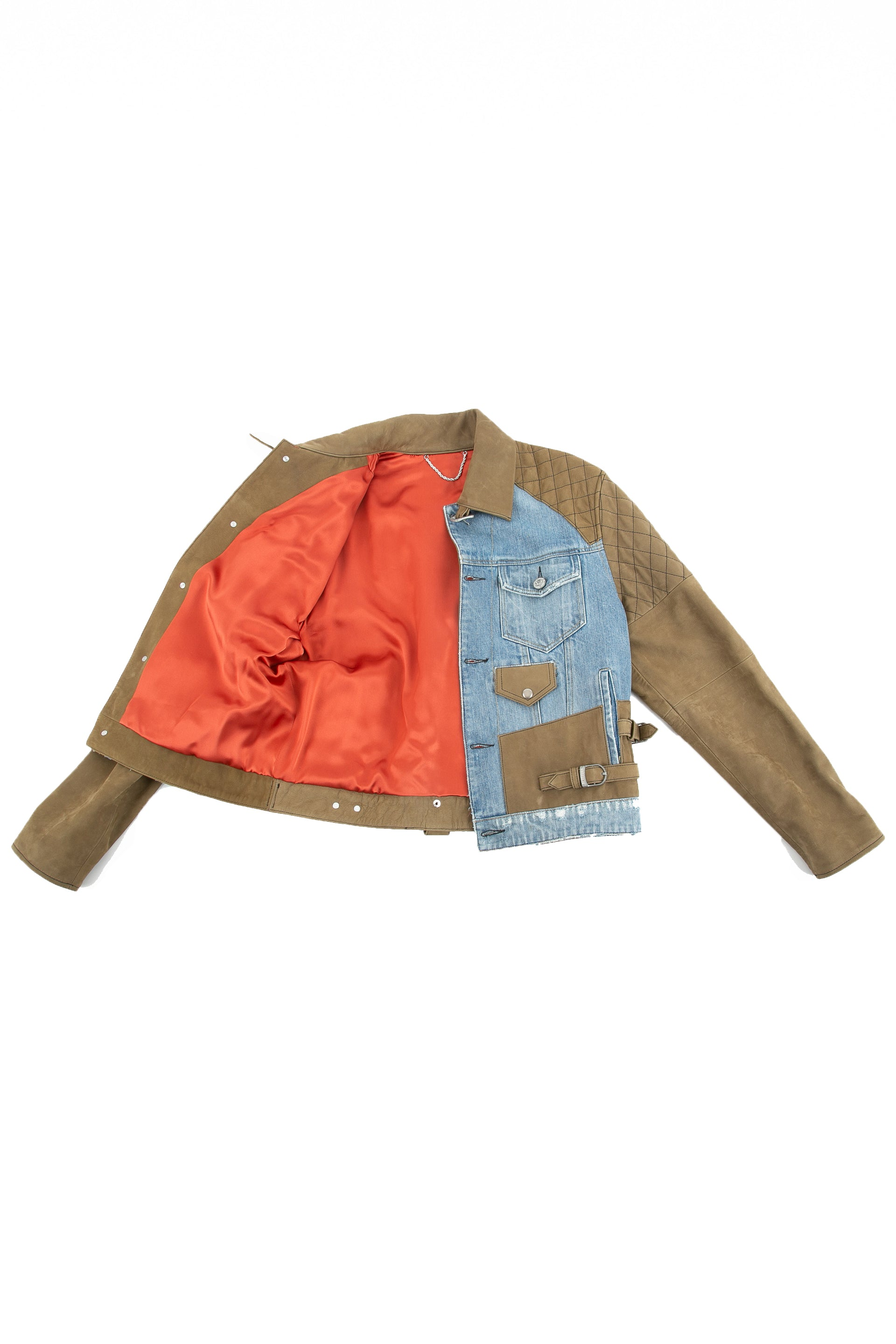 Inside of Tortuga leather and denim jacket