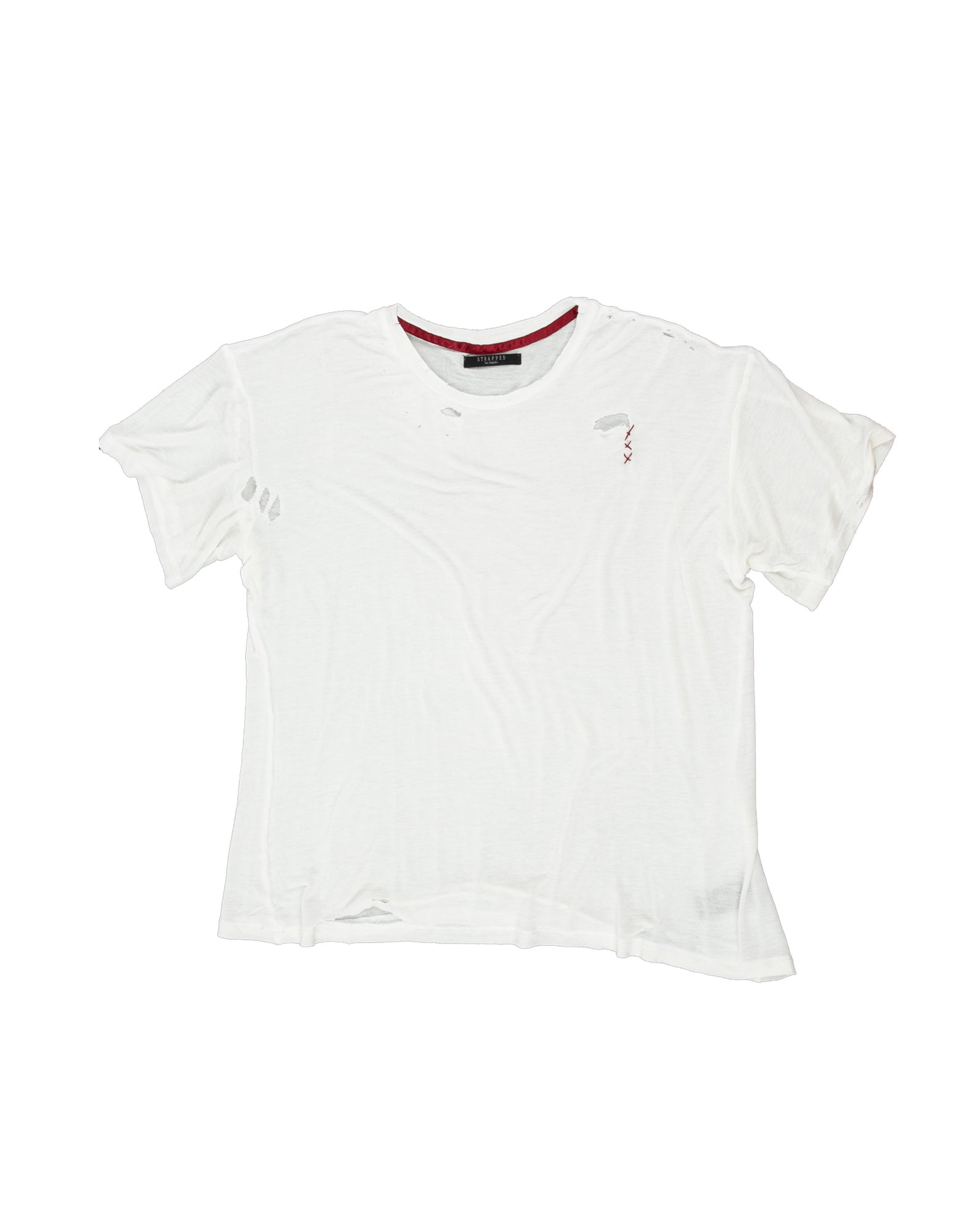 Front of Hand-stitched Tee in Ivory