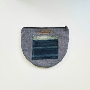 Half-Moon Clutch Indigo Square