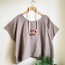 Wide Double Bar Necklace Cotton + Copper