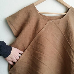 Linen Boxy Top With Front Pocket (more options)