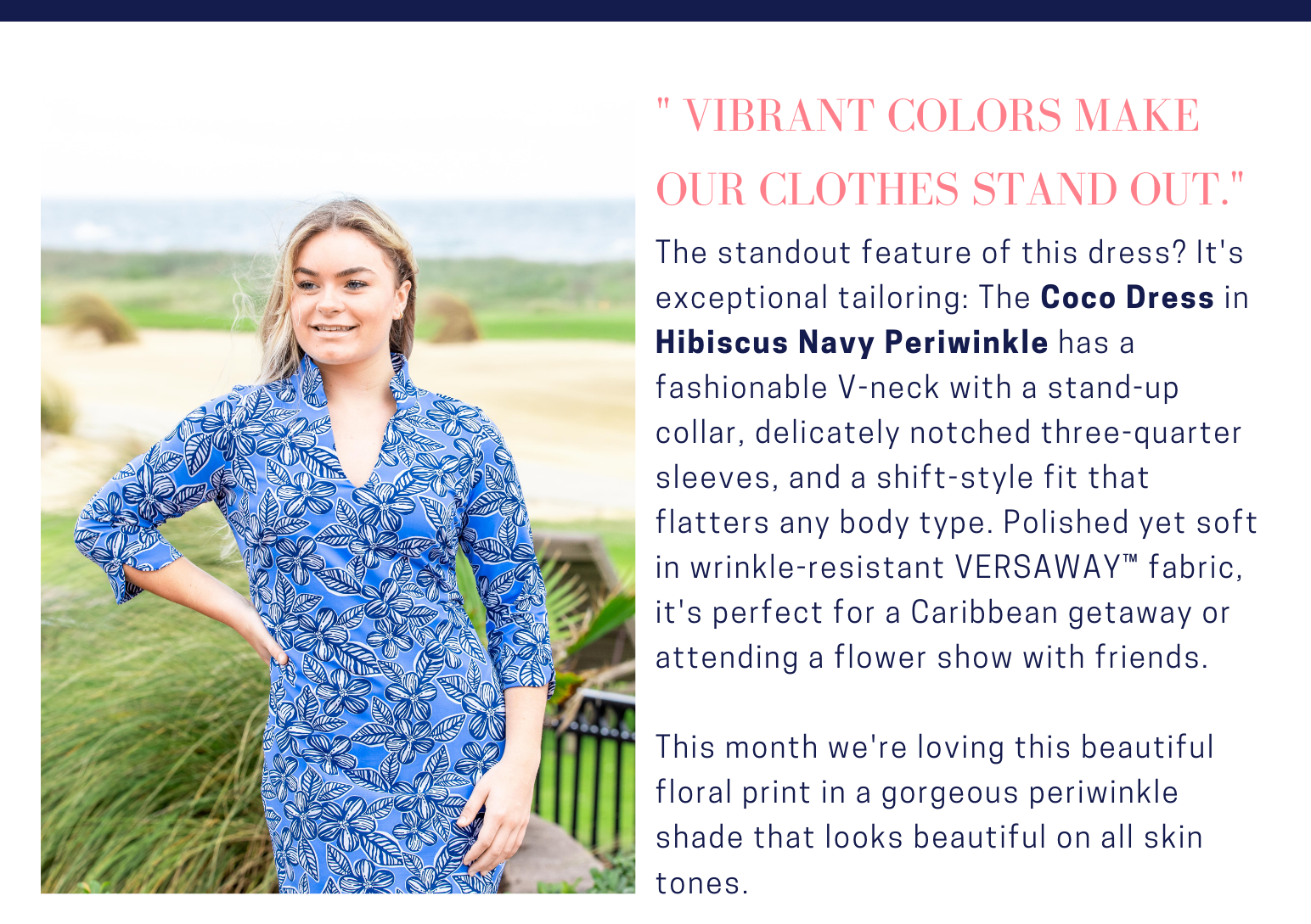 May 2021 Deen's List Style of the Month Coco Hibiscus Navy Peri