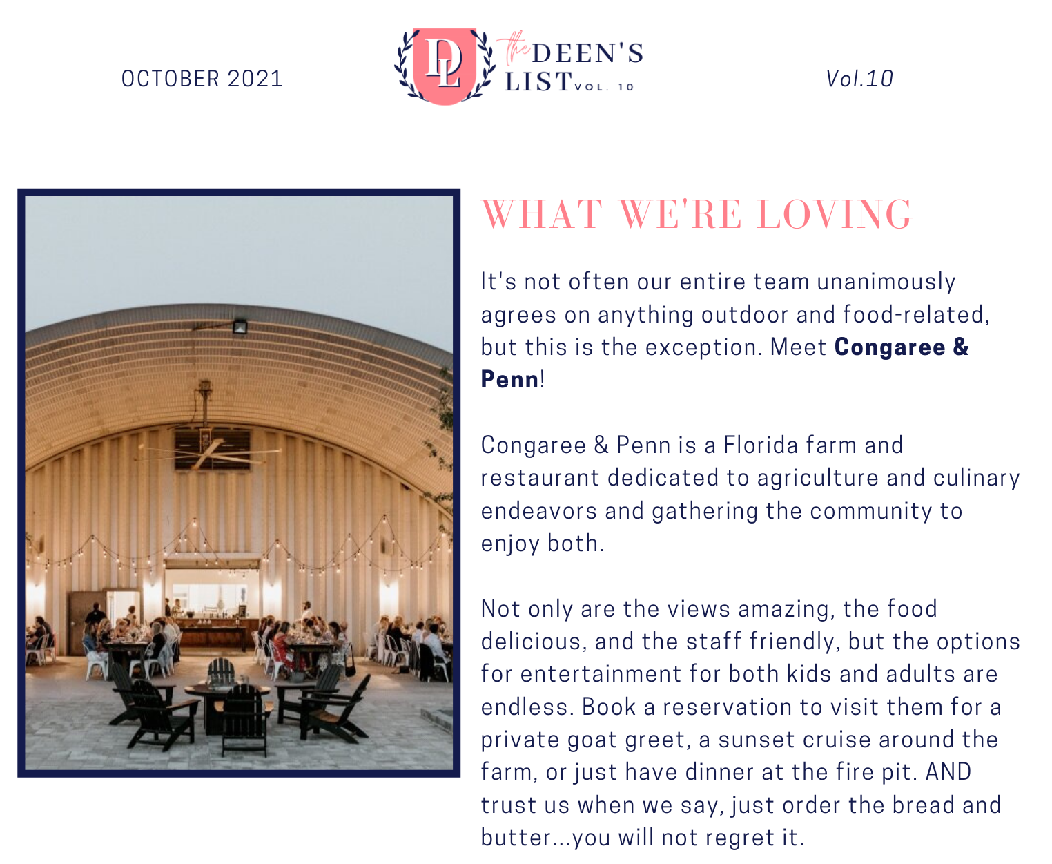 October 2021 Deen's List Congaree and Penn