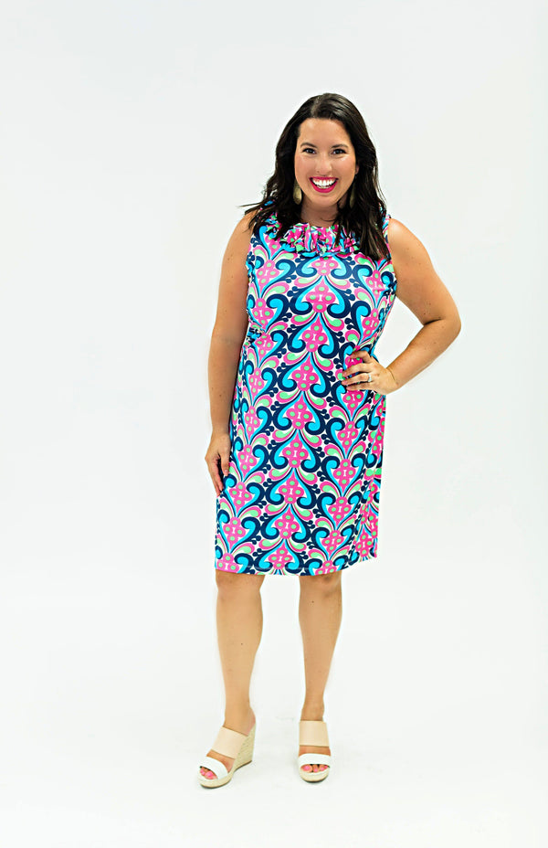 AUR DRESSES Katherine Way Collections Splash Geranium Navy XS
