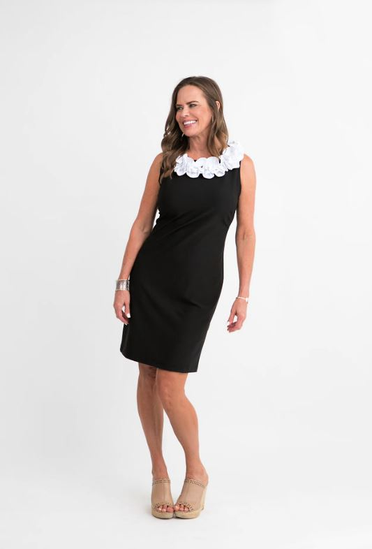 Aurora Dress White Black Combo product Katherine Way