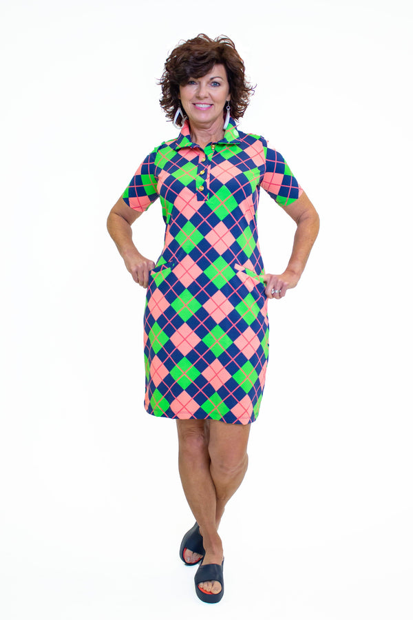 Austin Dress Argyle Navy Coral DRESSES Katherine Way Collections