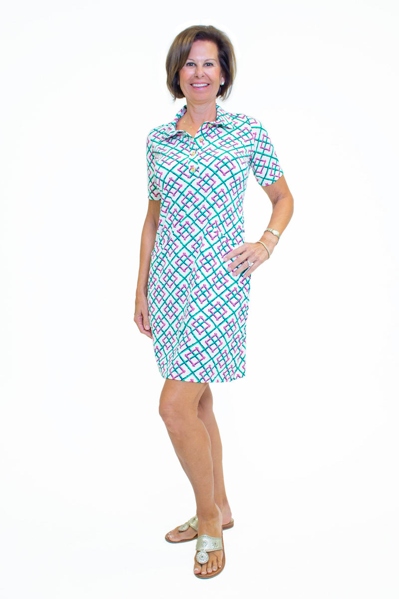 Austin Dress Bamboo Fence Pink DRESSES Katherine Way Collections