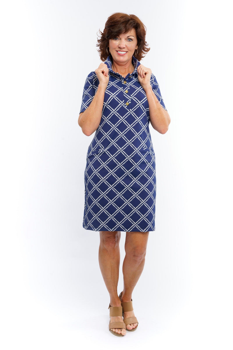 Austin Dress Bamboo Window Pane Navy DRESSES Katherine Way Collections
