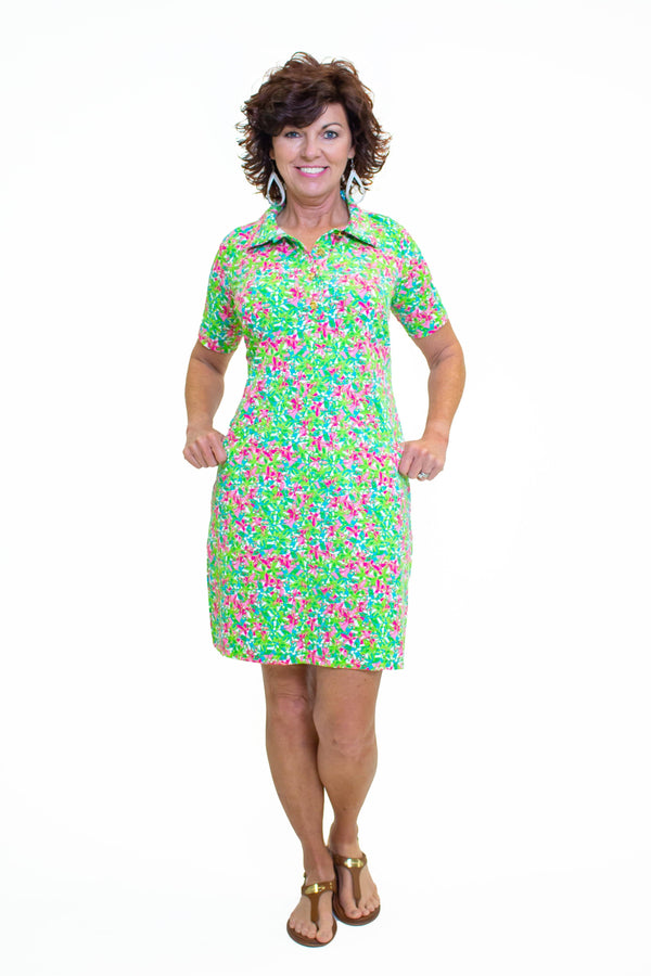 Austin Dress Pink Floral All Over DRESSES Katherine Way Collections