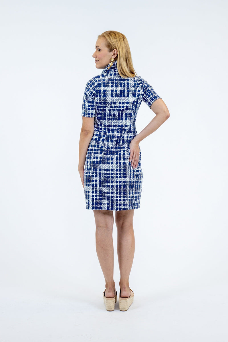 Austin Dress Plaid Dots Navy DRESSES Katherine Way Collections