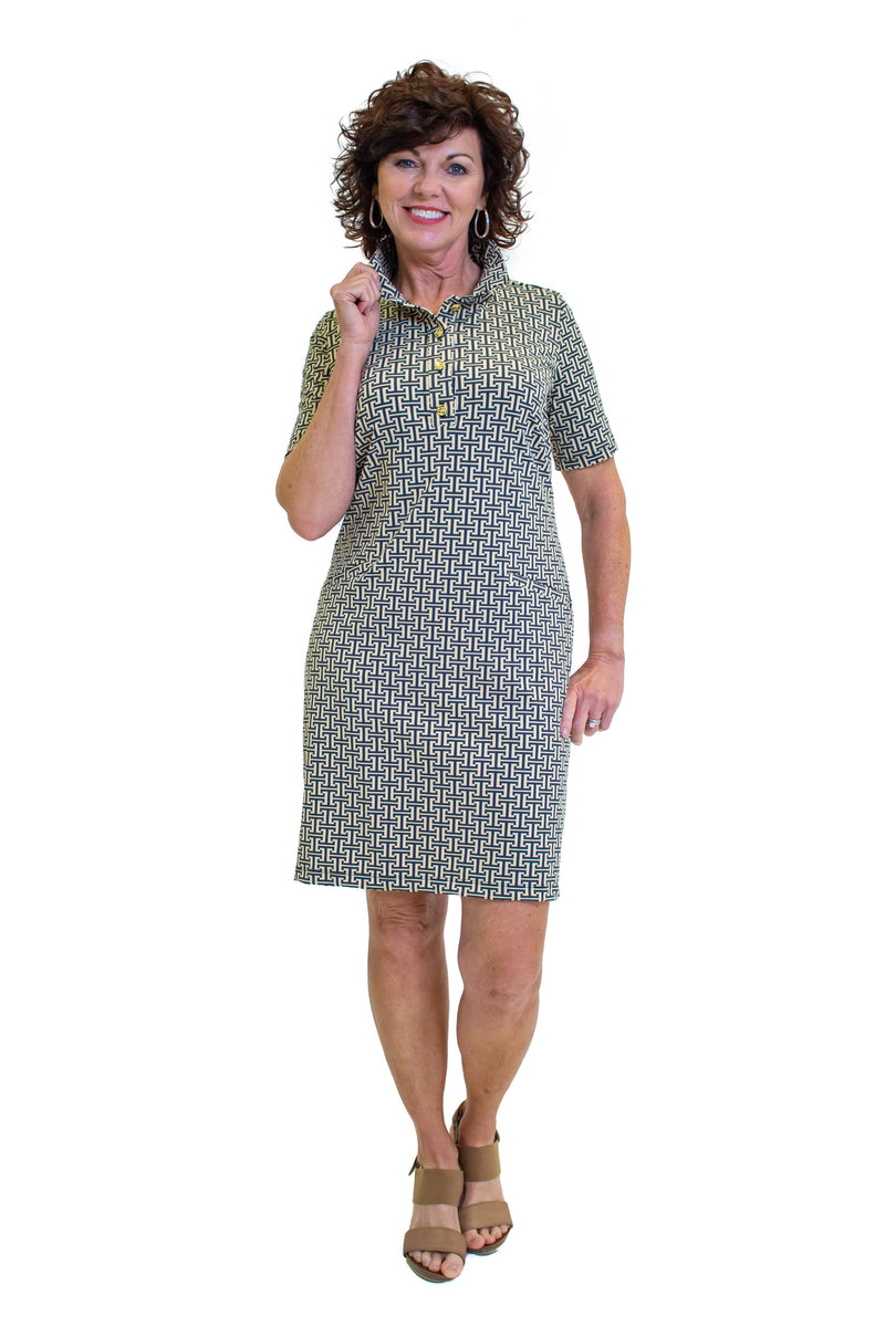 Austin Dress T Pattern Black Tan DRESSES Katherine Way Collections