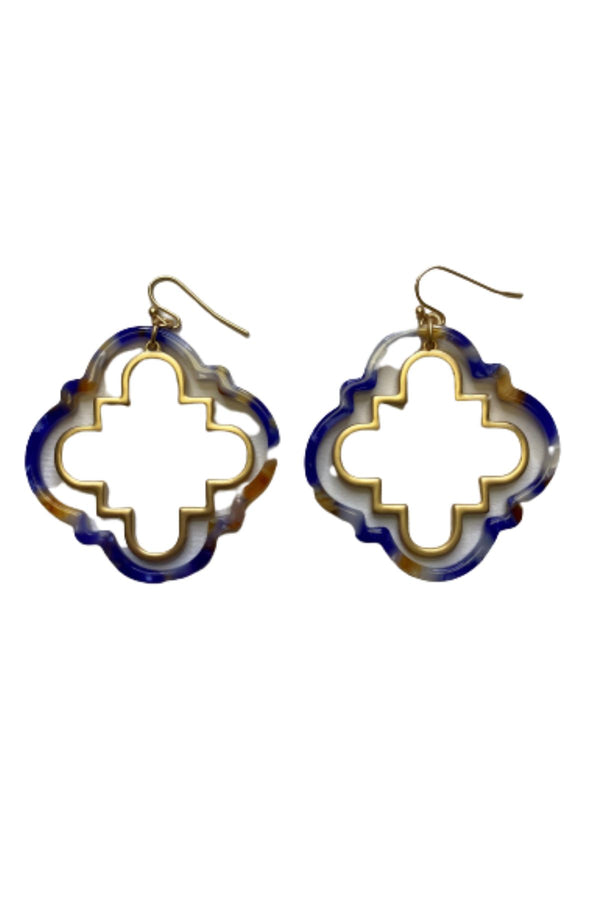 BLUE TORTOISE QUATREFOIL EARRINGS JEWELRY GOLDEN STELLA