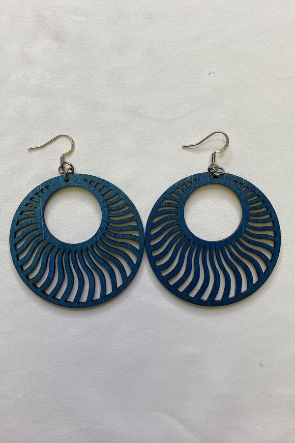 BLUE WOOD EARRINGS JEWELRY GOLDEN STELLA