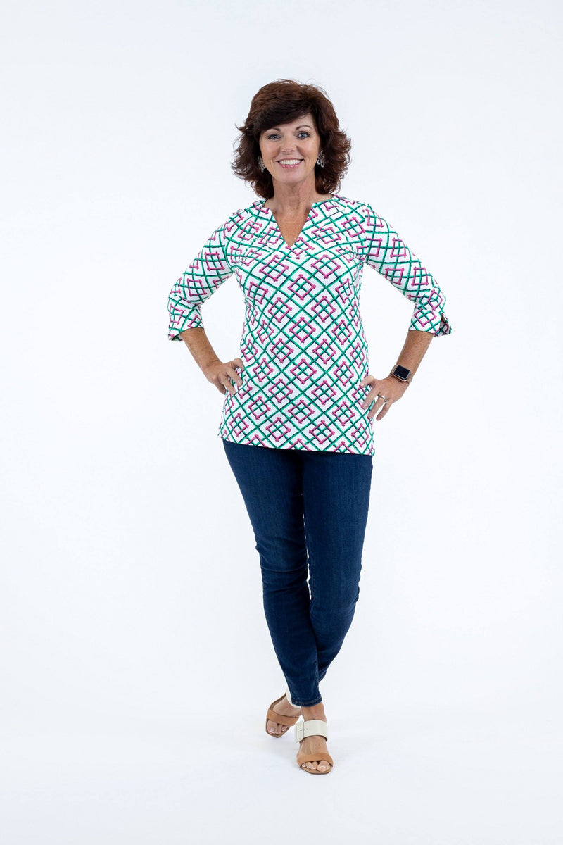 Boca Tunic Bamboo Fence Pink TOPS Katherine Way Collections