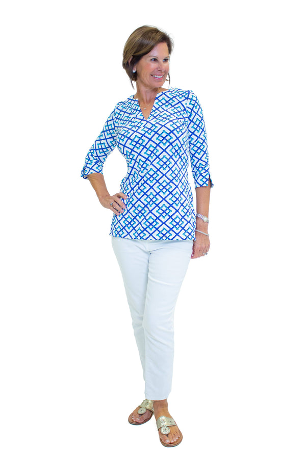 Boca Tunic Bamboo Fence Royal TOPS Katherine Way Collections