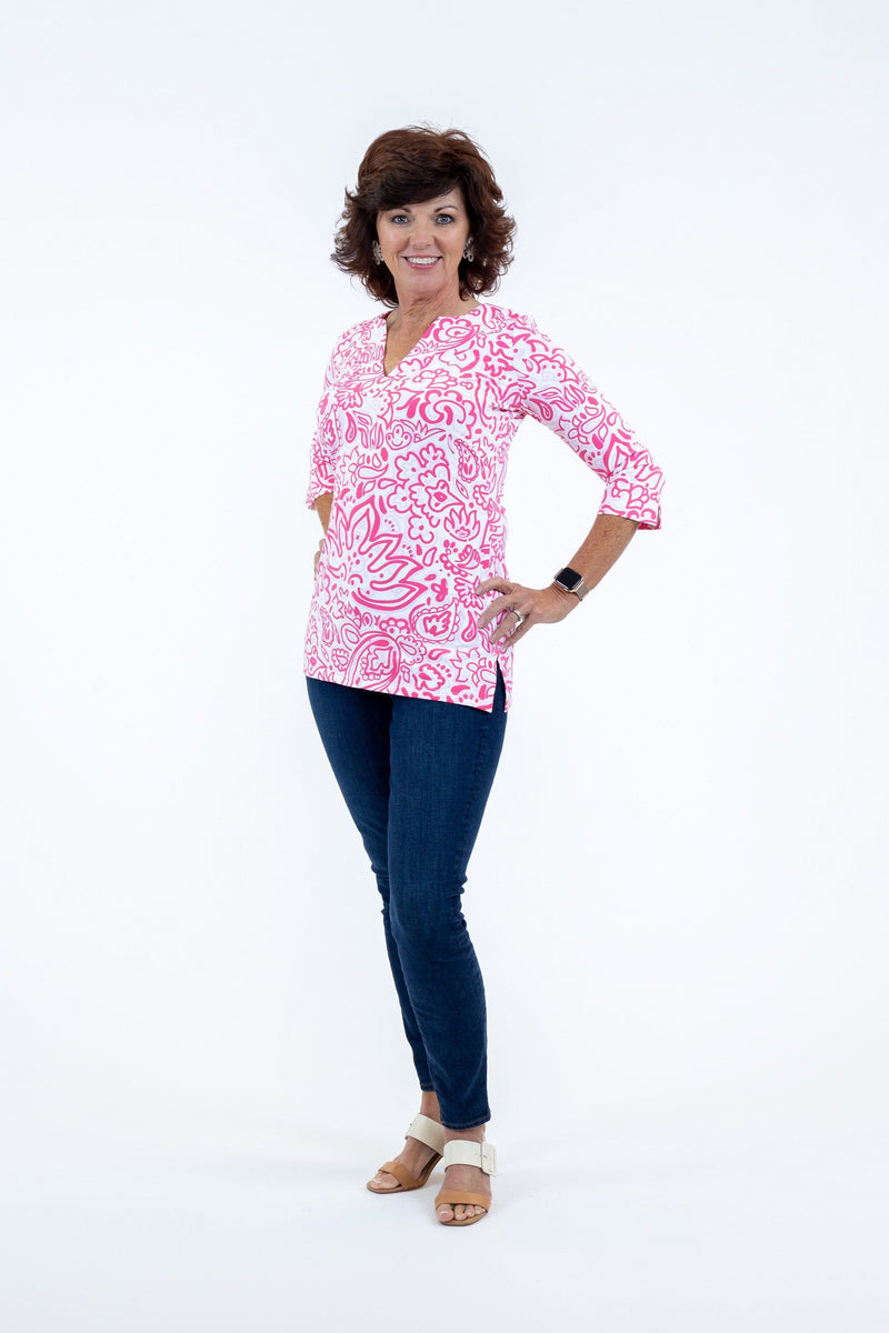 Boca Tunic Floral Fun Pink TOPS Katherine Way Collections