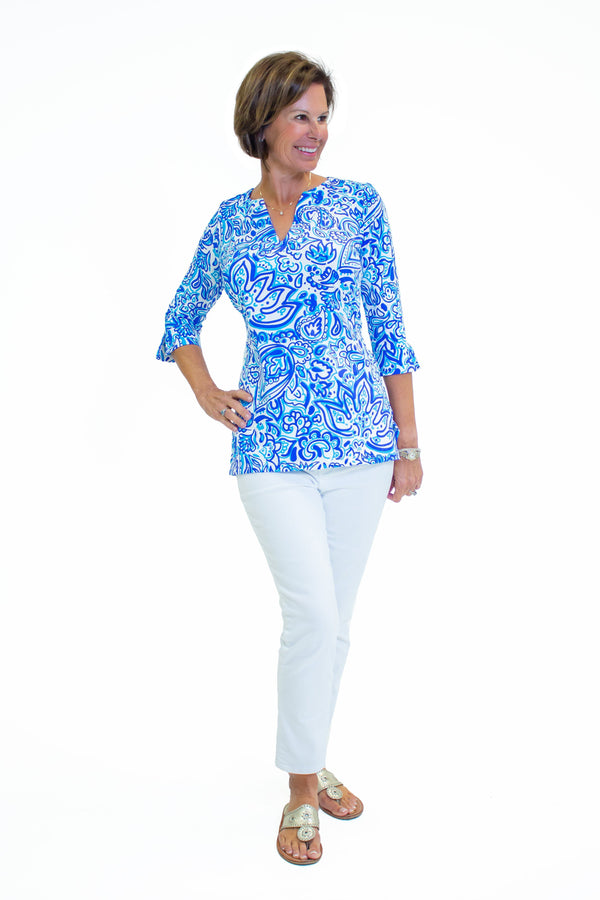 Boca Tunic Floral Fun Royal TOPS Katherine Way Collections