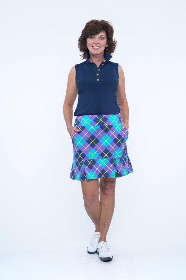 Broadmoor Skort Argyle Plum Navy BOTTOMS Katherine Way Collections Argyle Plum Navy XS