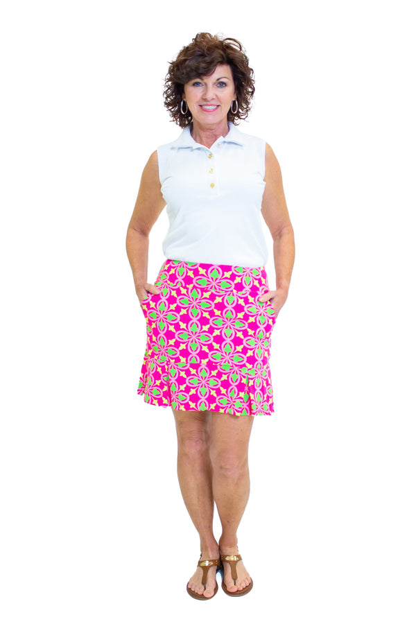 Broadmoor Skort Fleur Geranium Lime BOTTOMS Katherine Way Collections