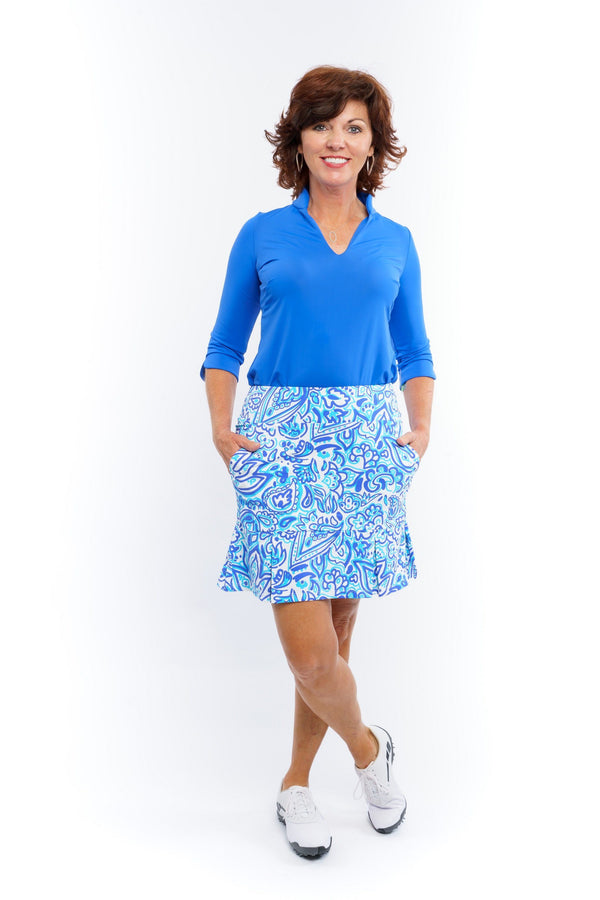 Broadmoor Skort Floral Fun Royal BOTTOMS Katherine Way Collections