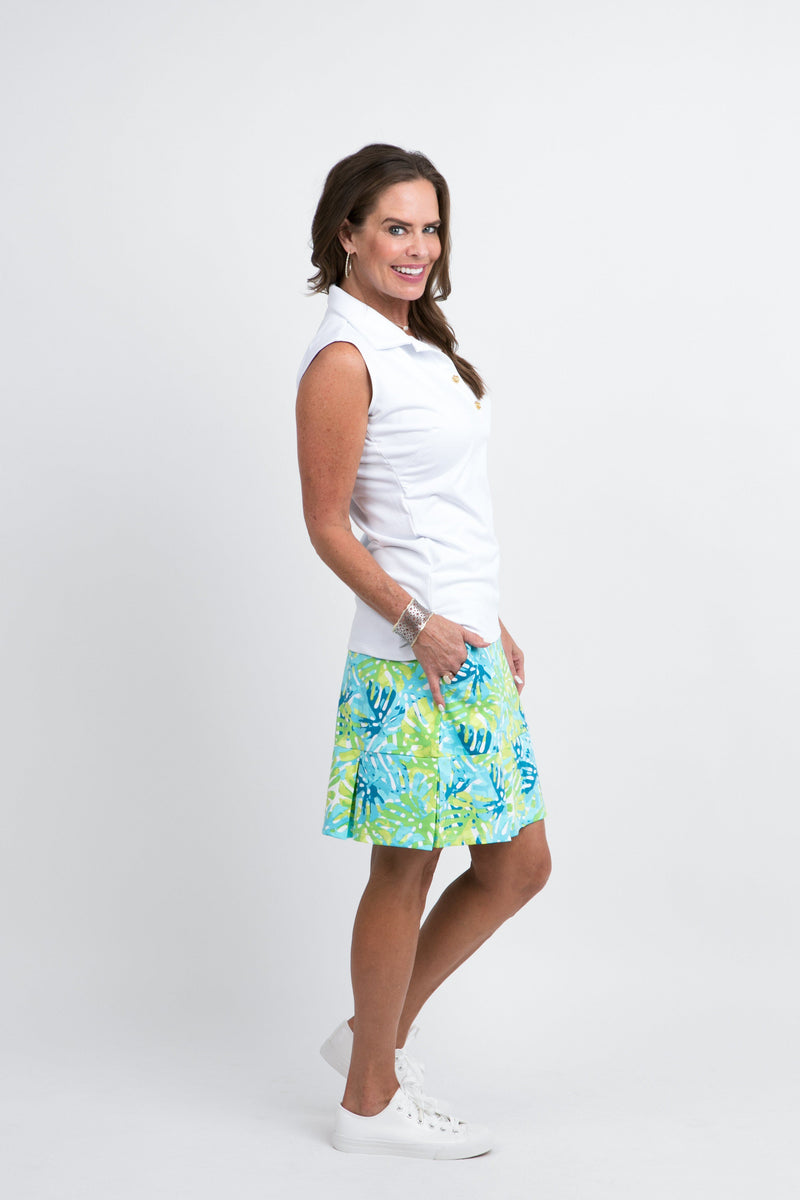 Broadmoor Skort Philly Leaves Green BOTTOMS Katherine Way Collections