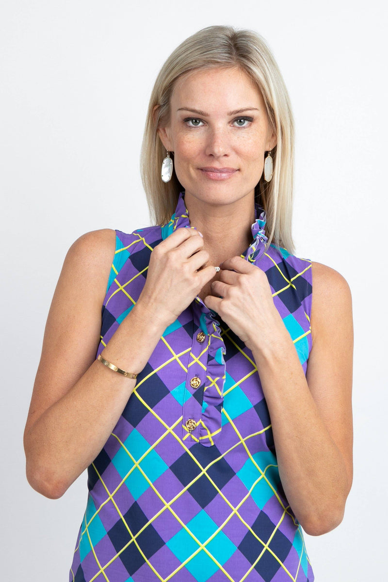 Campeche Dress Argyle Plum Navy DRESSES Katherine Way Collections