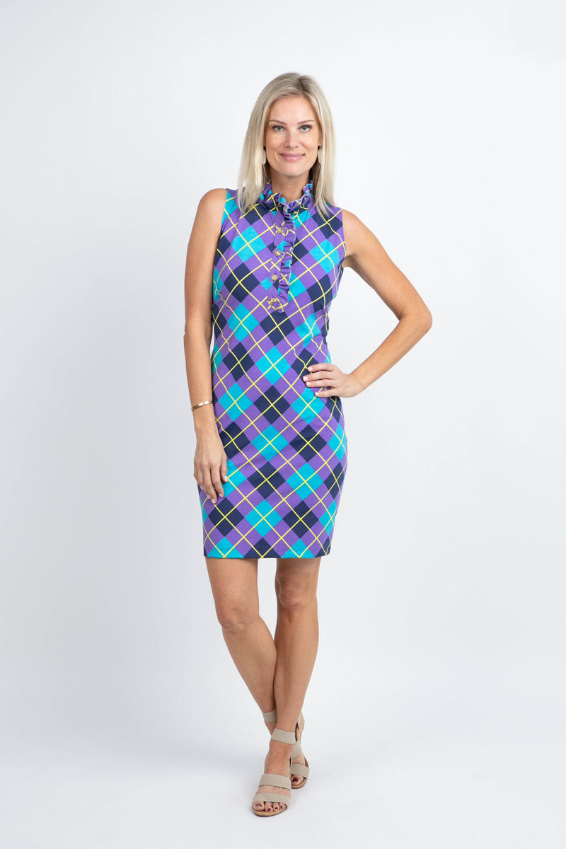 Campeche Dress Argyle Plum Navy DRESSES Katherine Way Collections Argyle Plum Navy XS