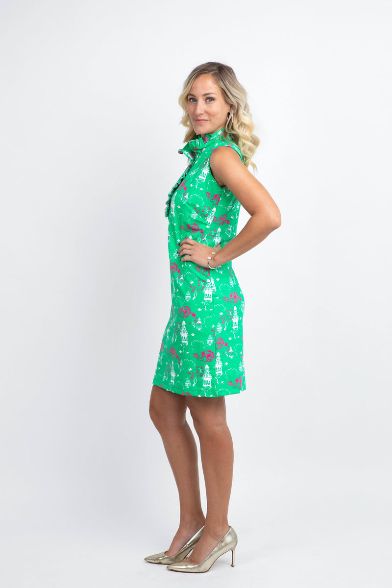 Campeche Dress Chinese Pagoda Green DRESSES Katherine Way Collections