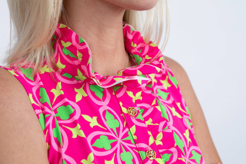 Campeche Dress Fleur Geranium Lime DRESSES Katherine Way Collections