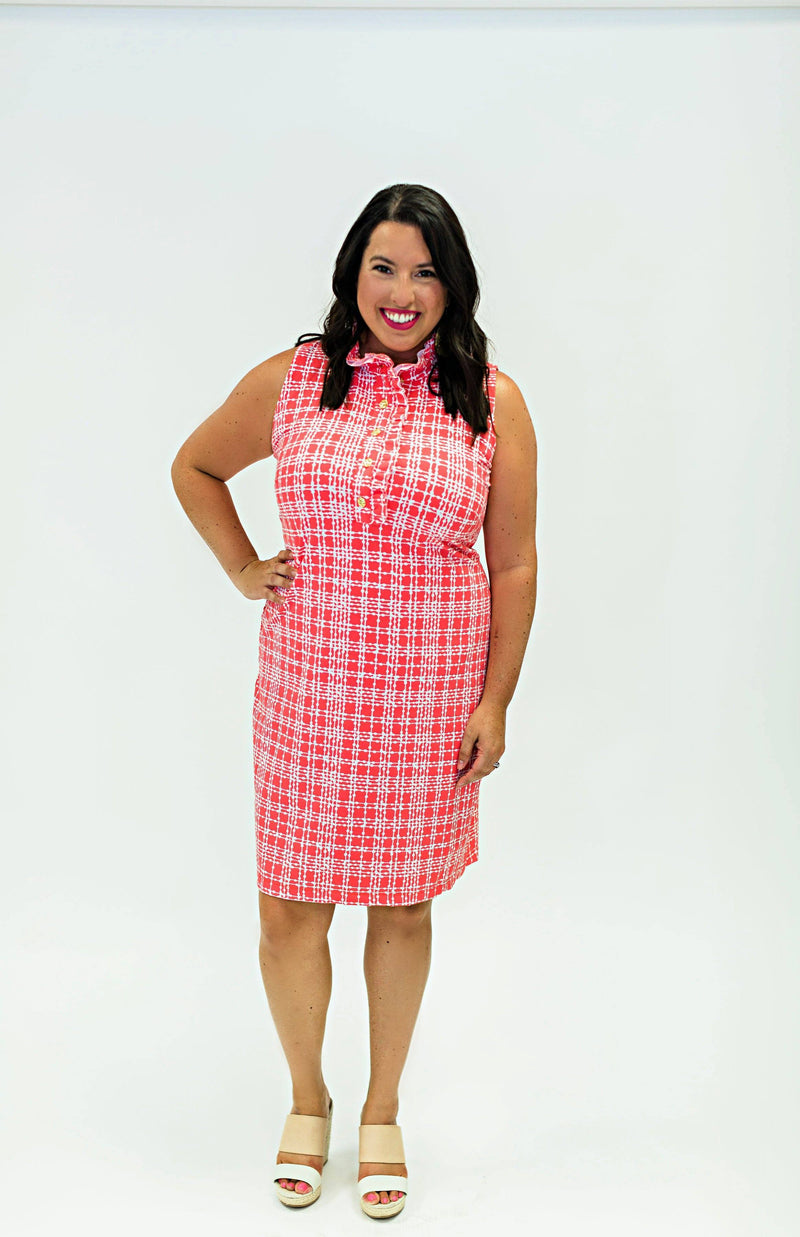 Campeche Dress Plaid Dots Coral DRESSES Katherine Way Collections Plaid Dots Coral XS