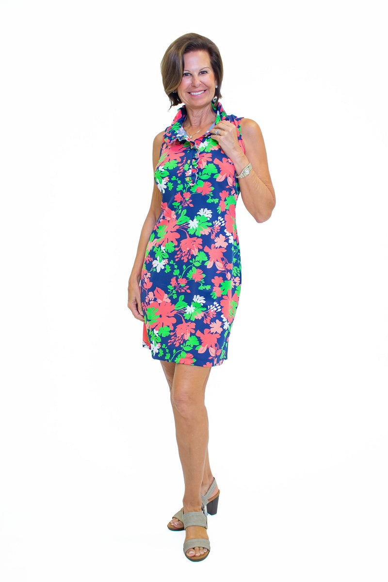 Campeche Dress Wildflowers Navy Coral DRESSES Katherine Way Collections