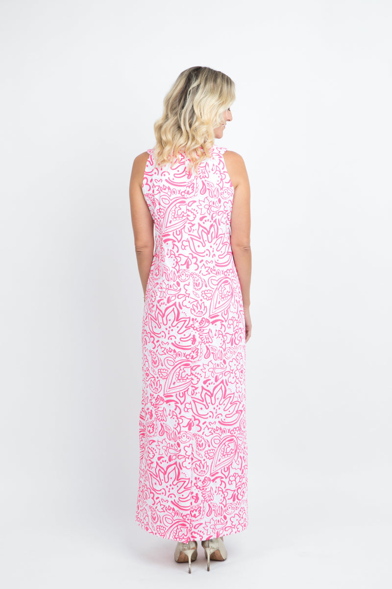 Charleston Maxi Dress Floral Fun Pink DRESSES Katherine Way Collections