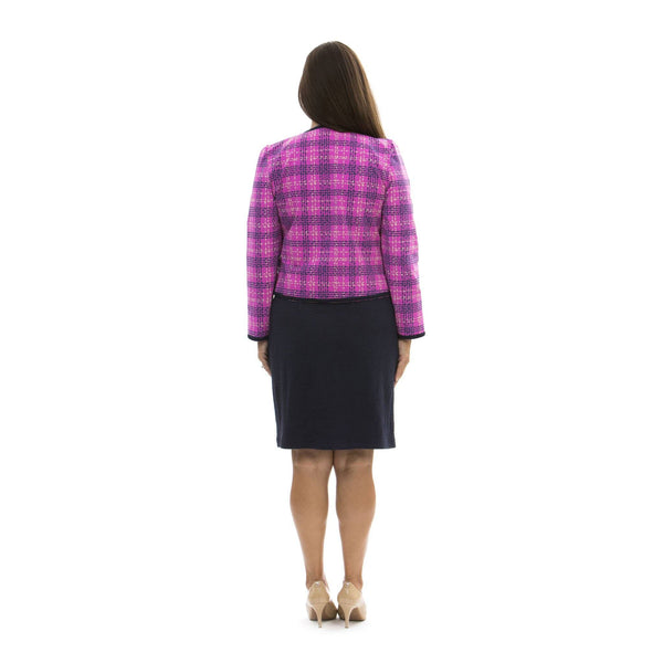 Chelsea Jacket Plaid Dots Fuchsia TOPS Katherine Way Collections