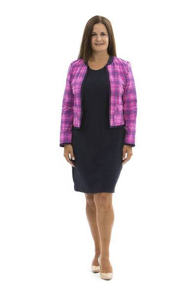 Chelsea Jacket Plaid Dots Fuchsia TOPS Katherine Way Collections Plaid Dots Fuchsia XS