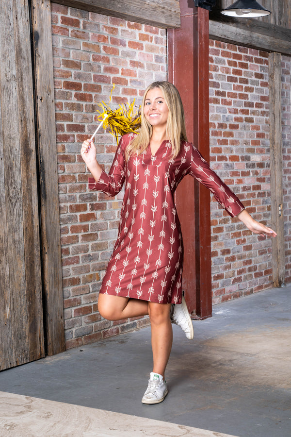 COCO DRESS ARROWS GARNET GOLD DRESSES KATHERINE WAY